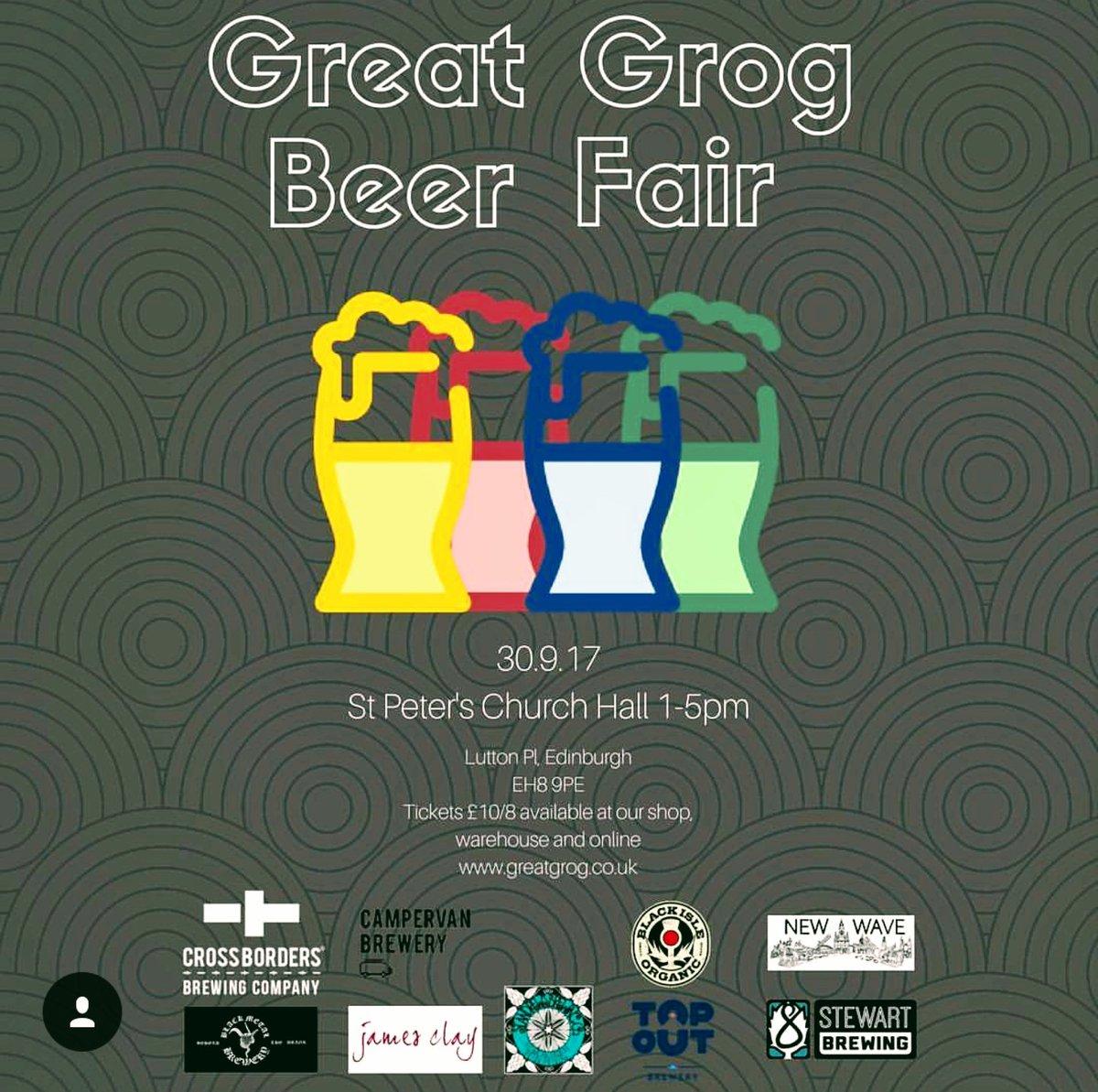 Meet the brewers #craftbeer bottled #beerfair #Edinburgh Sat 30th Sept 1-5pm tickets @GreatGrogShop or 01315550222<br>http://pic.twitter.com/BKjoMUPDp3