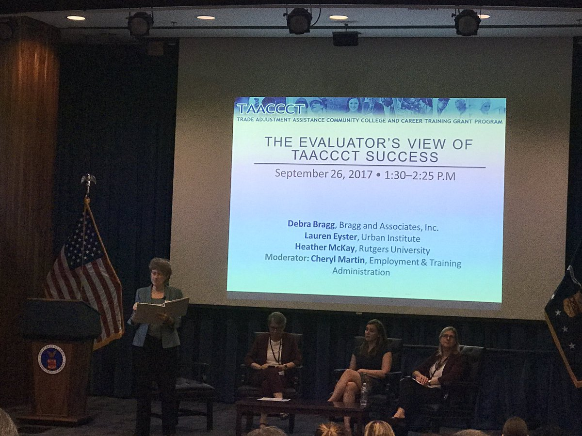 Just learned @usdol #TAACCCT is the MOST #evaluated #employment #training programs in the US (to date). Third-party and overall #Evaluation<br>http://pic.twitter.com/wFZyw7XAHF