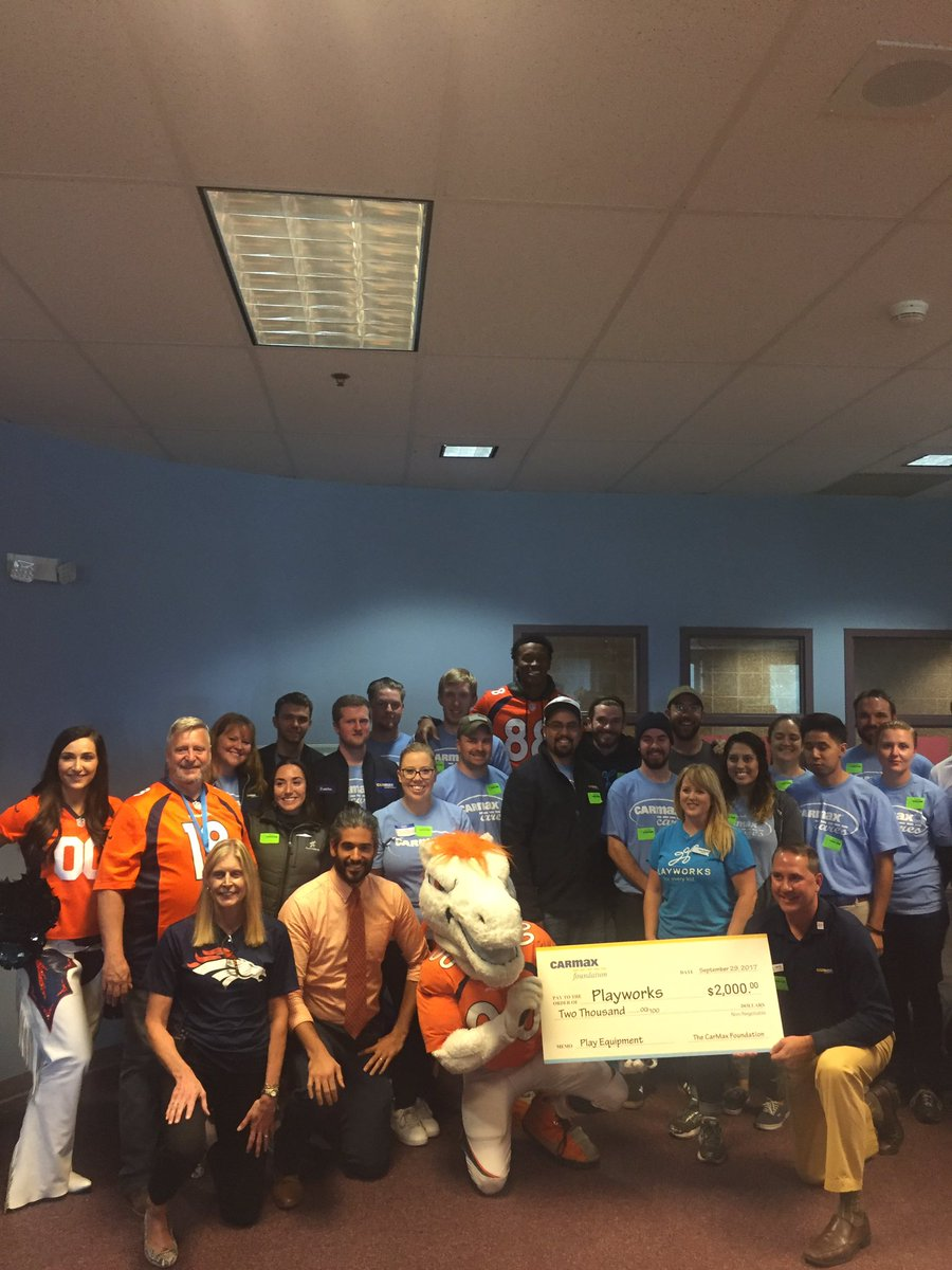 broncos demaryiust and carmax employees heading to recess broncos charities funds two full time playworks coaches in denver metro pic twitter com