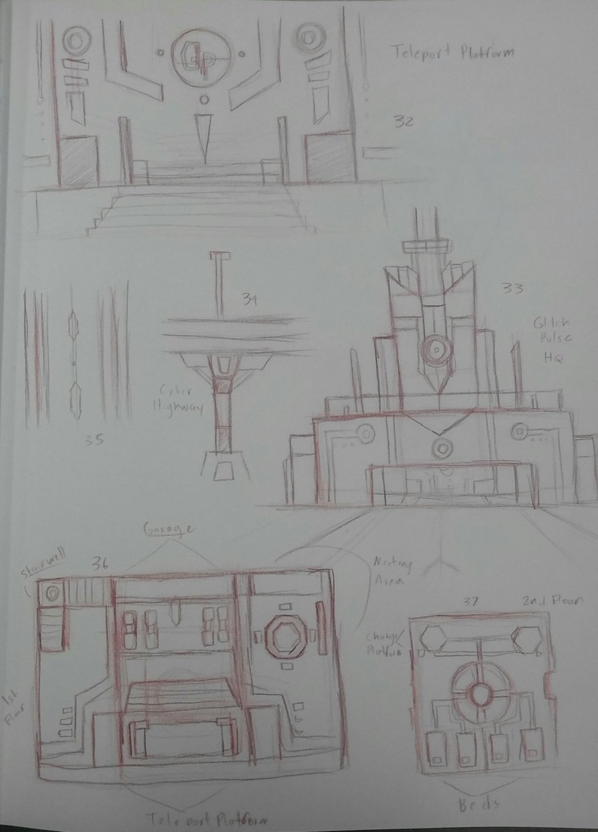 Concept sketches for #glitchpulse While background elements might not seem like much they still need alot of thought put into them. #nib2017