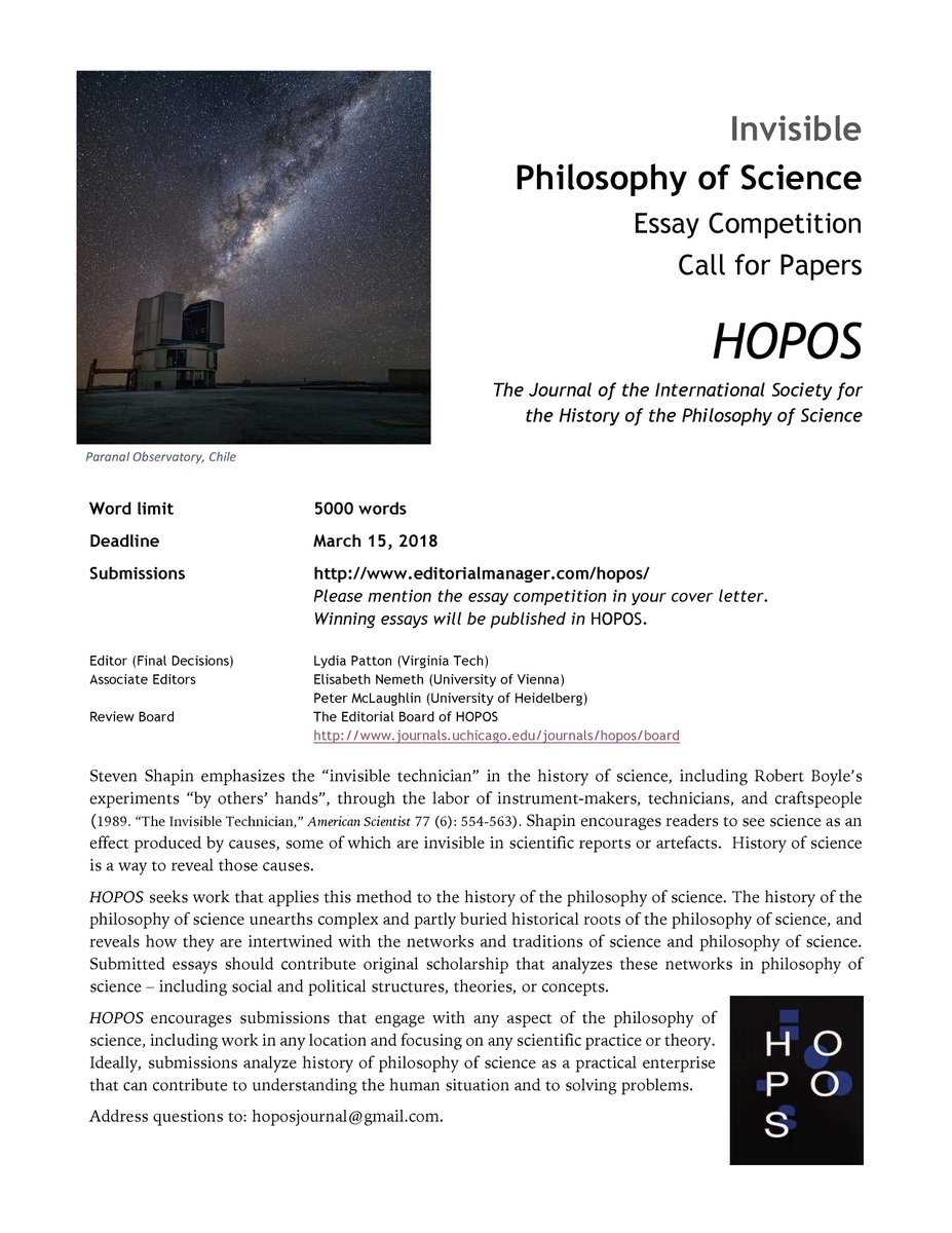 philosophy essay competition 2015 Entry Deadline:
