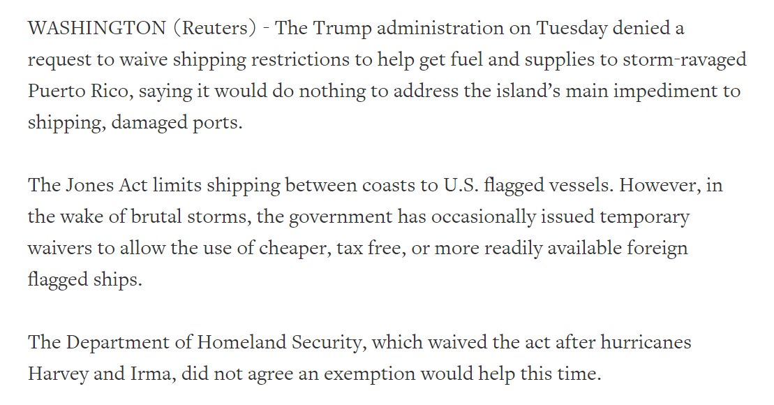 Trump administration denies Puerto Rico's request to waive the Jones Act, which it did for Harvey and Irma. https://t.co/dm2tcMfm2x
