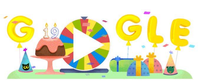 Google ฉลองครบรอบ 19 ปีด้วย Doodle เวอร์ชั่นพิเศษ รวบรวมเซอร์ไพรส์ในช่วง 19 ปีที่ผ่านมา เพียงคลิกไปที่วงล้อเสี่ยงทาย