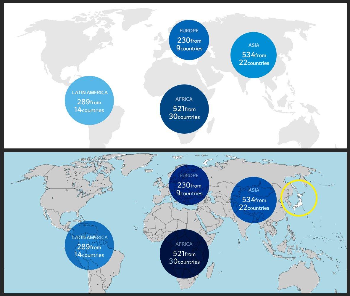 平昌オリンピックの公式サイトの世界地図とネットにあった世界地図を合わせて確認しちゃうフォトショ職人の性。上が元画像で下が重ねたやつね。 https://t.co/CM6eT2rG6B