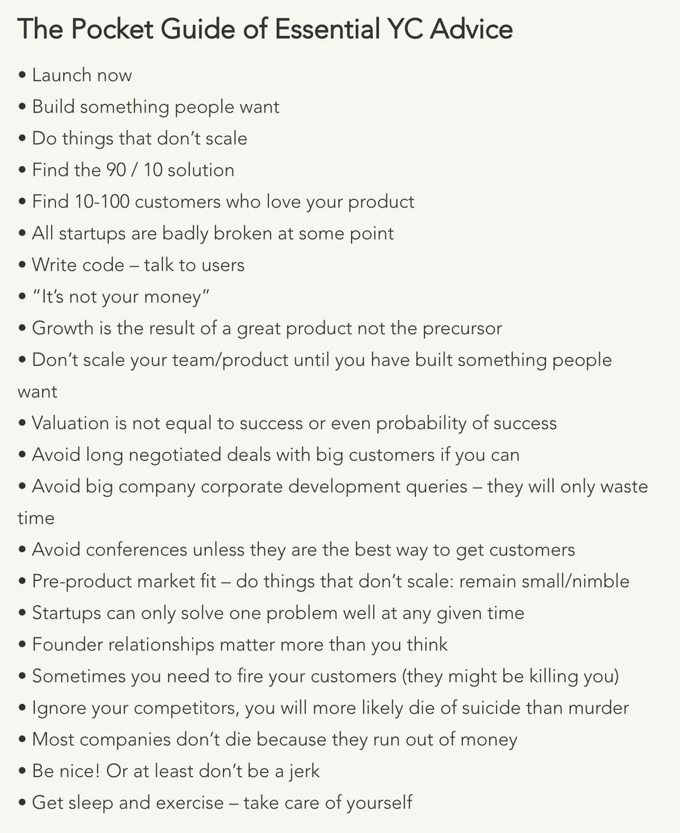 Pocket guide for #Startupfounders  by YC #advice #Build #Hack #Grow #startups #solve #valuation #users #team #code #money #company #sleep<br>http://pic.twitter.com/tD0JPY50mM