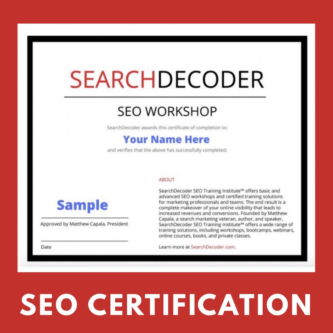 Matthew Capala On Twitter Get Seo Certified Check Out Our