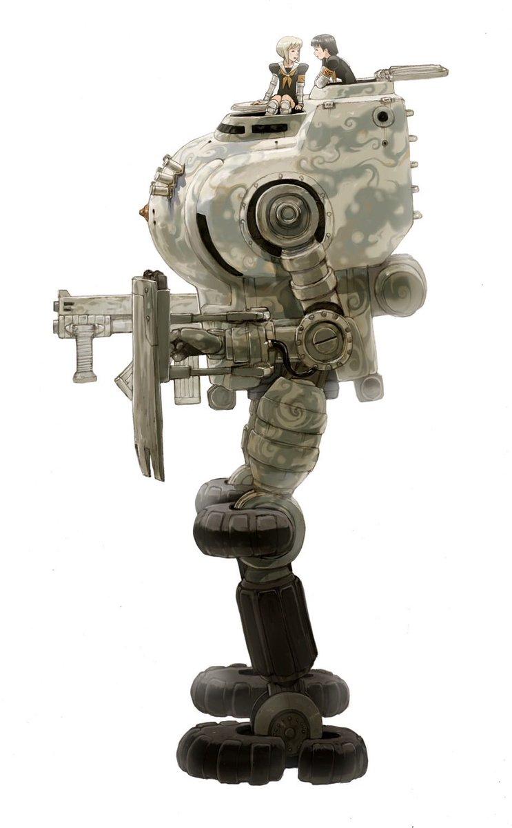 ちなみに原作のない、カサハラテツロー自前の漫画に登場するロボはこちらです。…やっぱり「どこかで見かけたような感じ」と叱られてしまいそうですけど…(汗💦) @HgKjDWcYgmlilNs