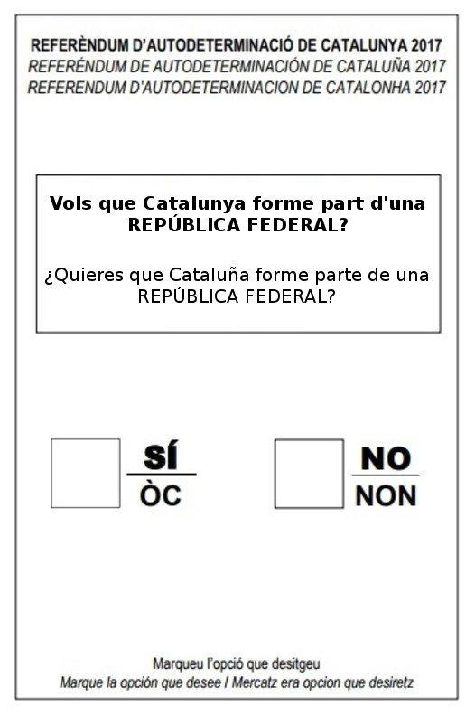 Vols que Catalunya forme part d'una REPÚBLICA FEDERAL?