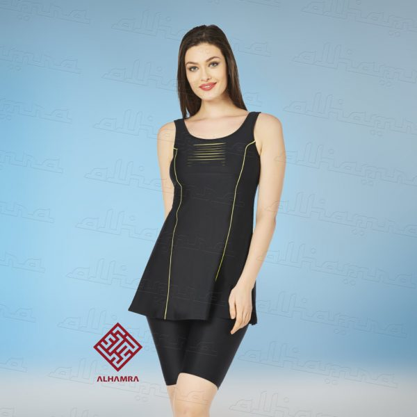1c3aca6abf Swimsuit set is a trendy black swimsuit with yellow colored piping.