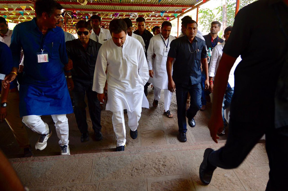 Rahul Gandhi climbs over 600 stairs of Chamunda Mata temple at Chotila in Gujarat
