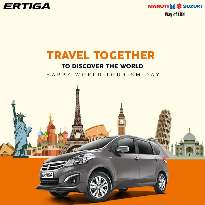 This #WorldTourismDay, bring everyone together and explore new places with your loved ones in your Maruti Suzuki Ertiga. https://t.co/WxYzVplDlK
