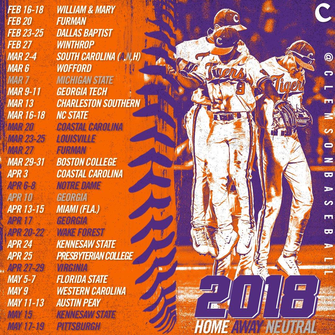 Clemson Baseball Schedule 2019 Clemson Baseball on Twitter: