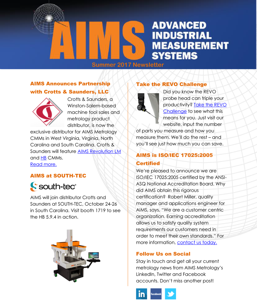 Aims metrology on twitter icymi our latest newsletter features aims metrology on twitter icymi our latest newsletter features a new distributor southtecexpo the revo challenge and iso certification 1betcityfo Gallery