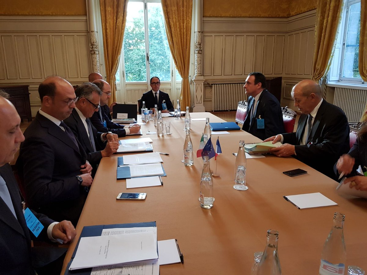 FM #Alfano meets FM #LeDrian in #Lyon: close cooperation btw #Italy &amp; #France on #EU &amp; #Libya. Working together in the #UN<br>http://pic.twitter.com/oOhnij1RAW
