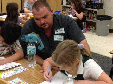 Working hard with his daughter. #FLDadsatschoolday