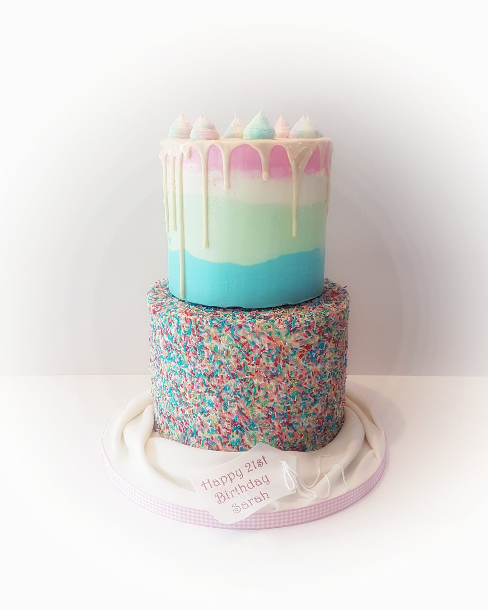 Cake Moda On Twitter 2 Tier Birthday Cake With Sprinkles And
