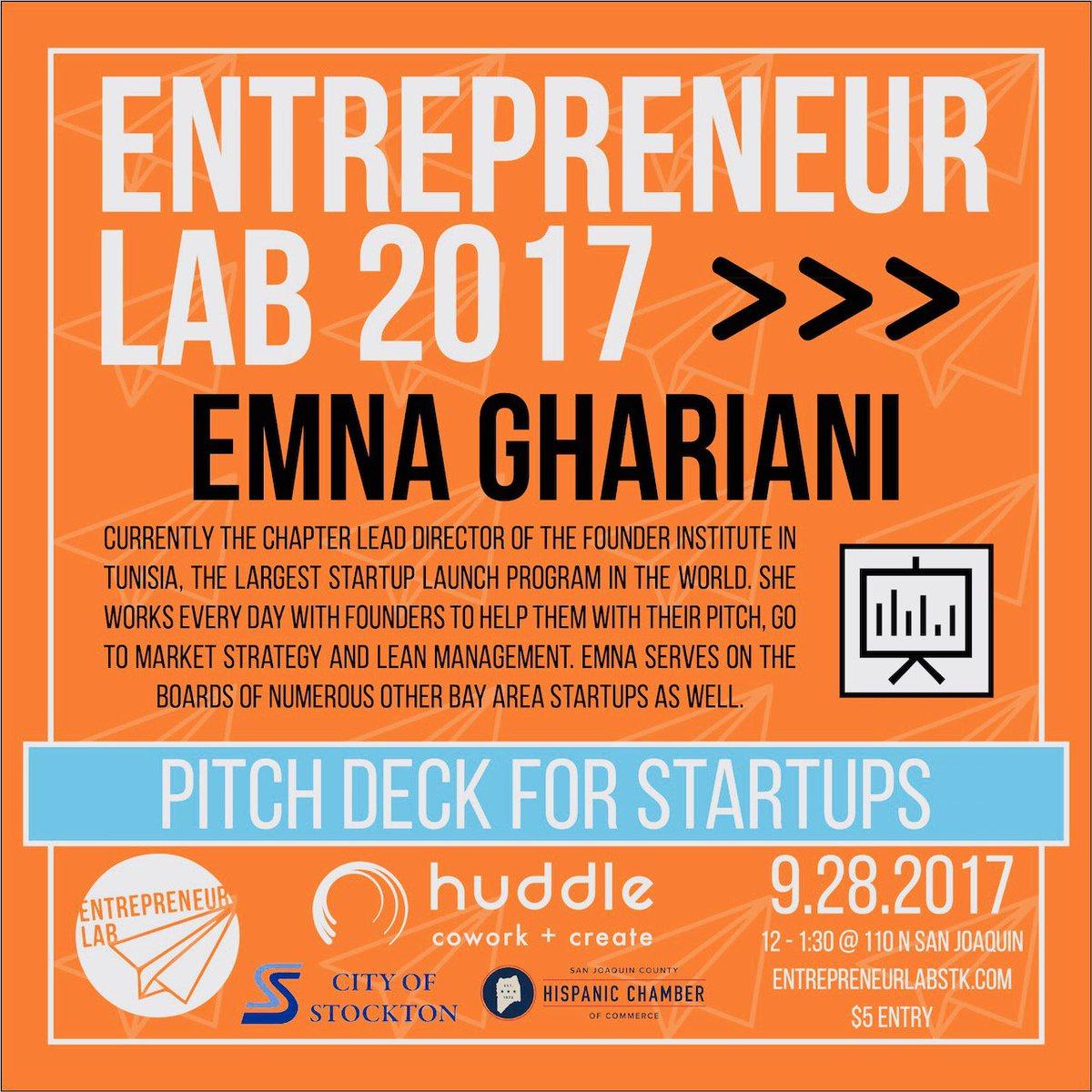 #EmnaGhariani #PitchDecksForStartUps #EntrepreneurLabStk #StocktonCA #HuddleCoWorkingSpace https://t.co/md9FUKsfME…/…/243392669/ https://t.co/MjmfYJv8Y1