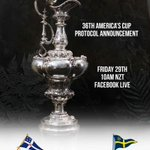 The 36th America's Cup Protocol negotiated between @RNZYS & #CVS as Challenger of Record to be announced tomorrow Friday 29th Sept 1000NZT