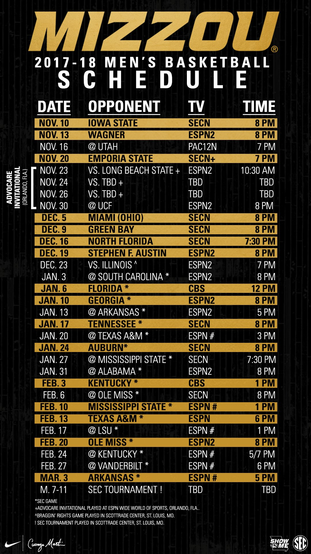 2017 – 2018 men's basketball schedule | mizzou alumni association