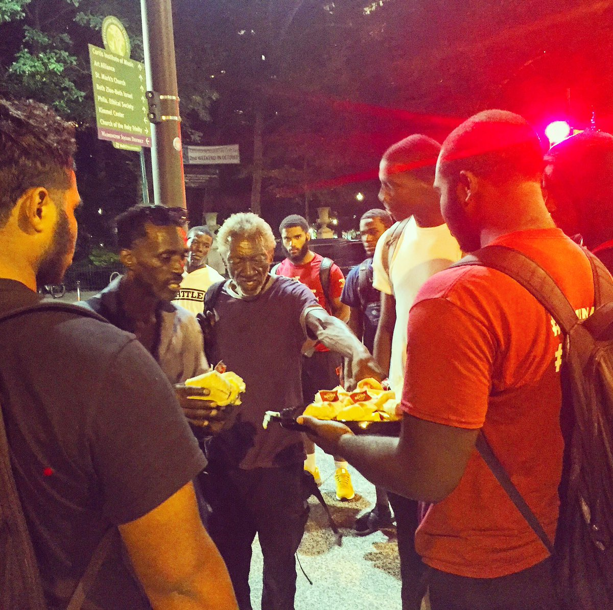Instead of throwing out leftover sandwiches, the boys decided to hand them out to Philadelphians in need. @FocusedAth_215  @PhillyMayor