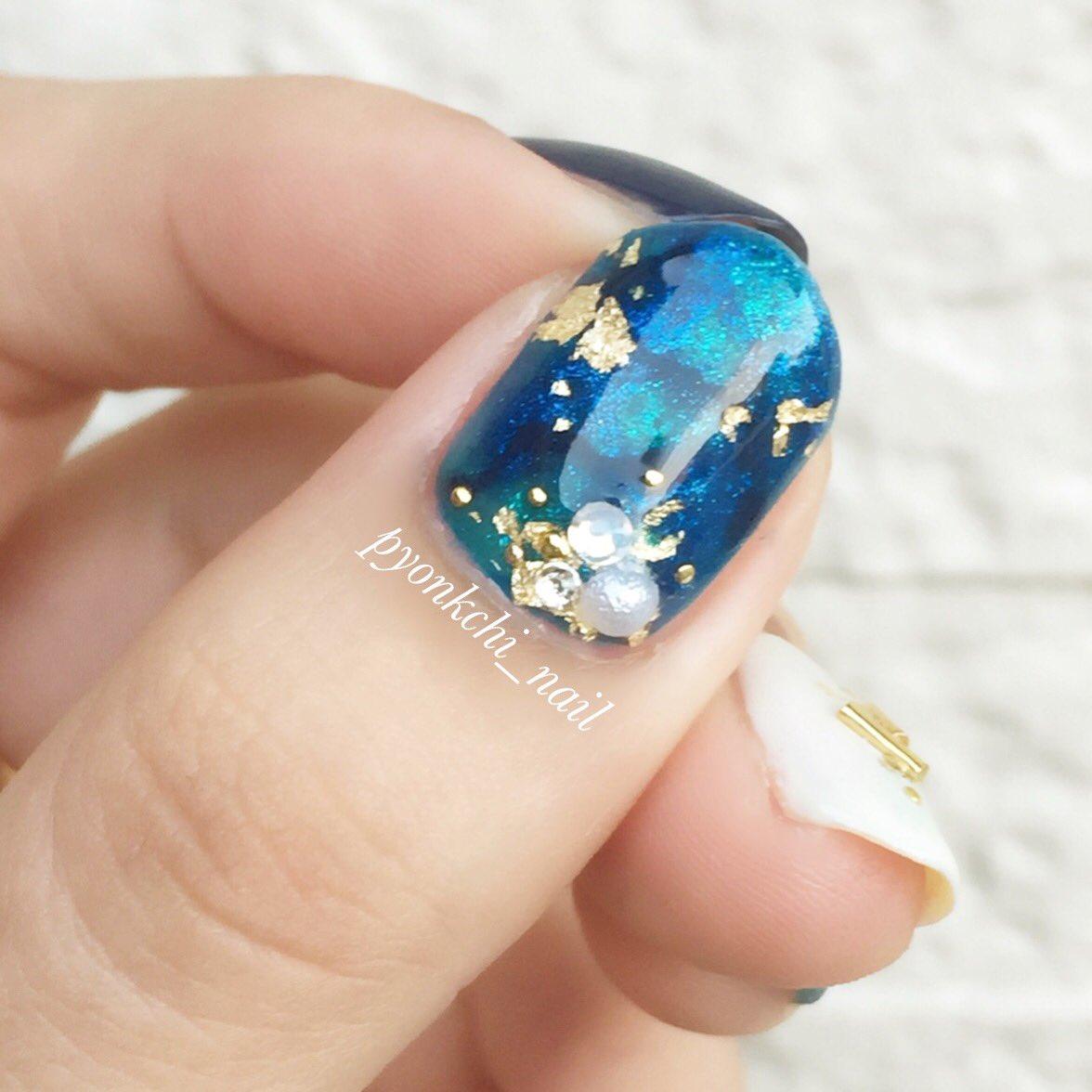 青は落ち着く〜(*´꒳`*)♡  #nail #selfnail #セルフネイル #ポリッシュ #マニキュア