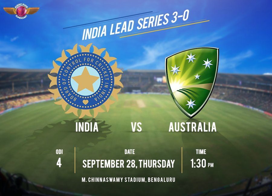Today we play the 4th ODI of the #INDvAUS series and Team India is gunning to put this one in the bag. Are we going to witness a whitewash?👊