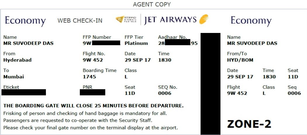 Suvodeep Das على تويتر Here S The Jetairways Boarding Card With