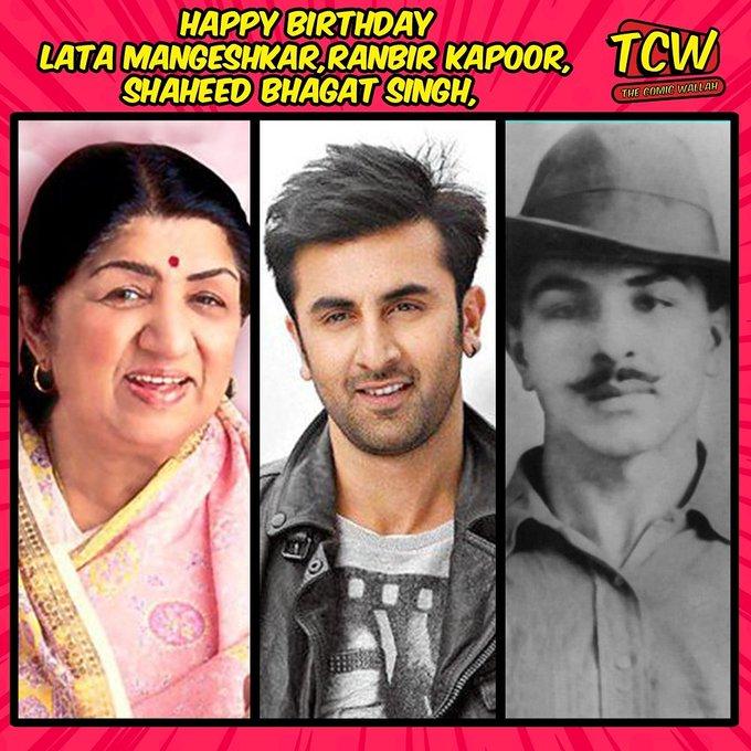 Happy Birthday, Lata Mangeshkar. Ranbir Kapoor. Shaheed Bhagat Singh. Respect.