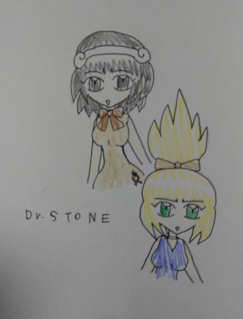 #DrSTONE  なんとなくヒロイン二人を描いてみました。  うむむ……(-_-;)