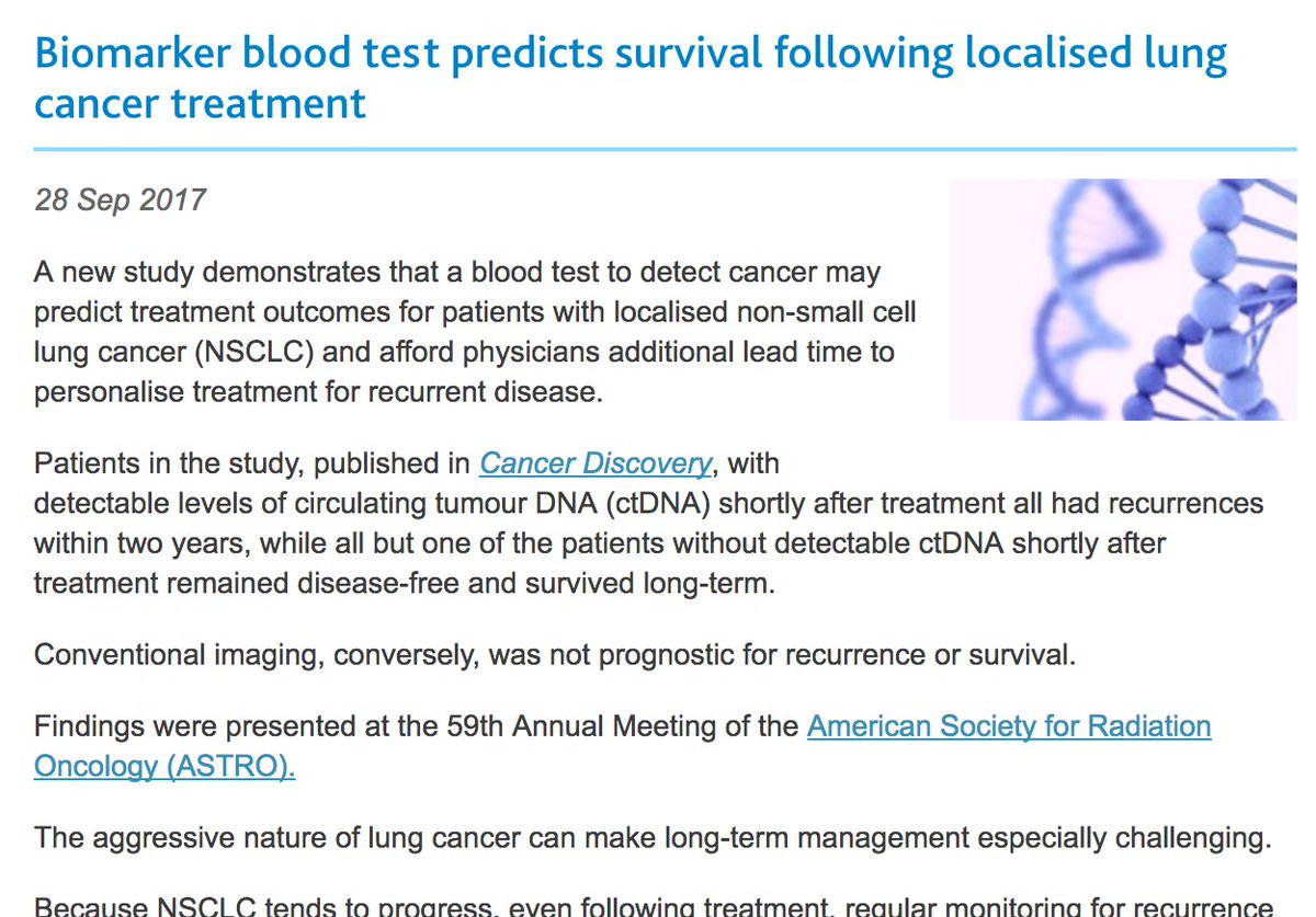 Lung Cancer Blood Test >> Ecancer On Twitter Astro17 Headlines Include A Blood Test For