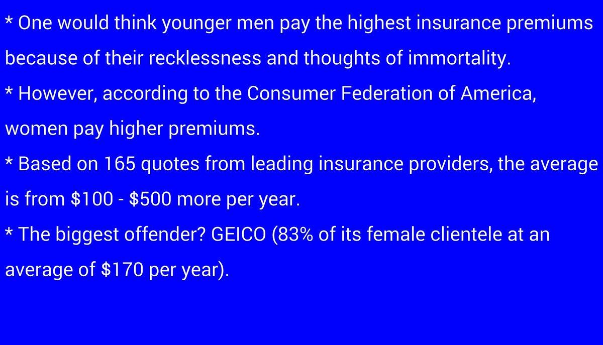 #KTLA&#39;s #MoneySmart w/#DavidLazarus - Which gender pays higher insurance premiums? #Laz #CFA #GEICO #21stCentury #Allstate #FarmersInsurance<br>http://pic.twitter.com/XqhkgQij0m