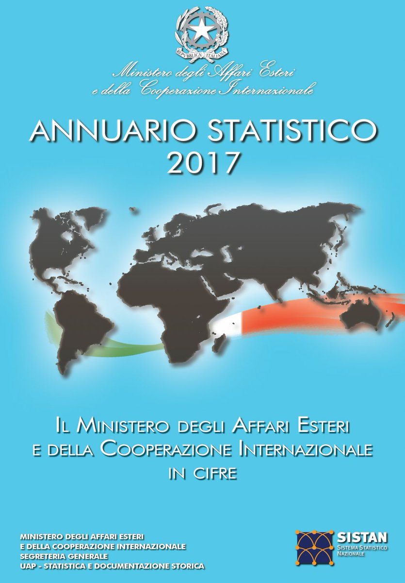 The numbers of @ItalyMFA in the Statistical yearbook 2017 #diplomacy   http://www. esteri.it/mae/en/sala_st ampa/pubblicazioni/annuario_statistico/ &nbsp; …  #statistics <br>http://pic.twitter.com/jbaaLfubmN