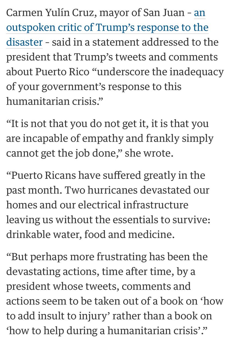 San Juan To Trump S Puerto Rico Tweets Https Www Theguardian Us News 2017 Oct 12 Criticises Hurricane Aid Cannot Go On Forever
