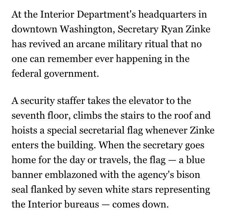 The Interior Department has begun hoisting a special flag when Secretary Ryan Zinke enters the building: https://t.co/VHwsNOktZC