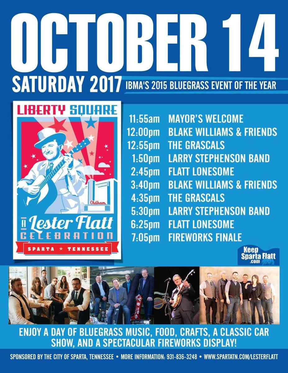 This weekend in #spartatn - FlattLonesome @BlakeWilliamsBG @TheGrascals & Larry Stephenson Band #lesterflatt #bluegrass @IntlBluegrass<br>http://pic.twitter.com/z49nFfkByp