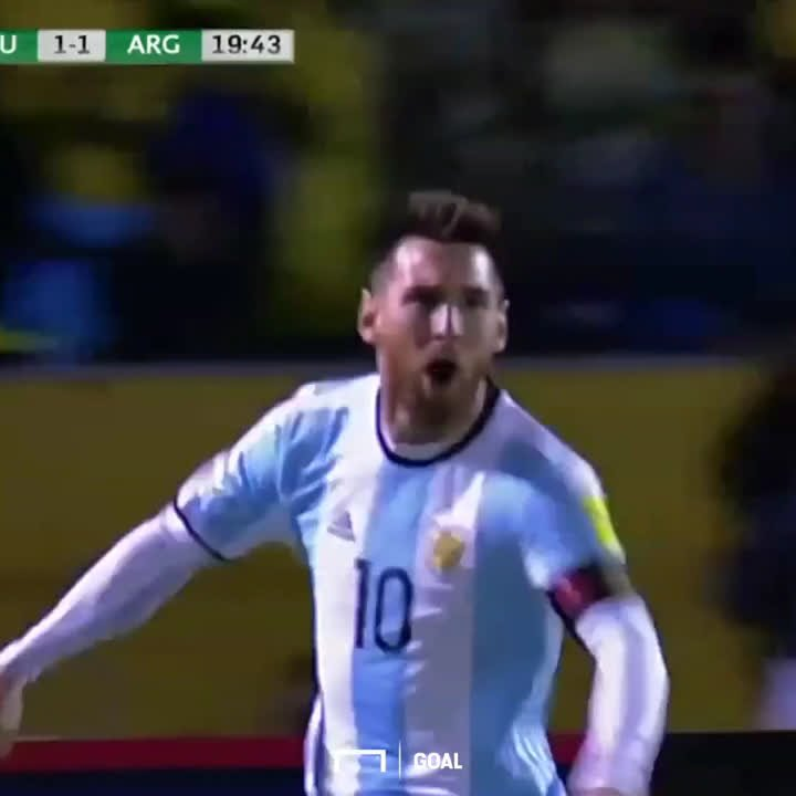 Lionel Messi just single-handedly sent Argentina to the World Cup with a hat-trick.   Legendary. https://t.co/CRnJP66BJp