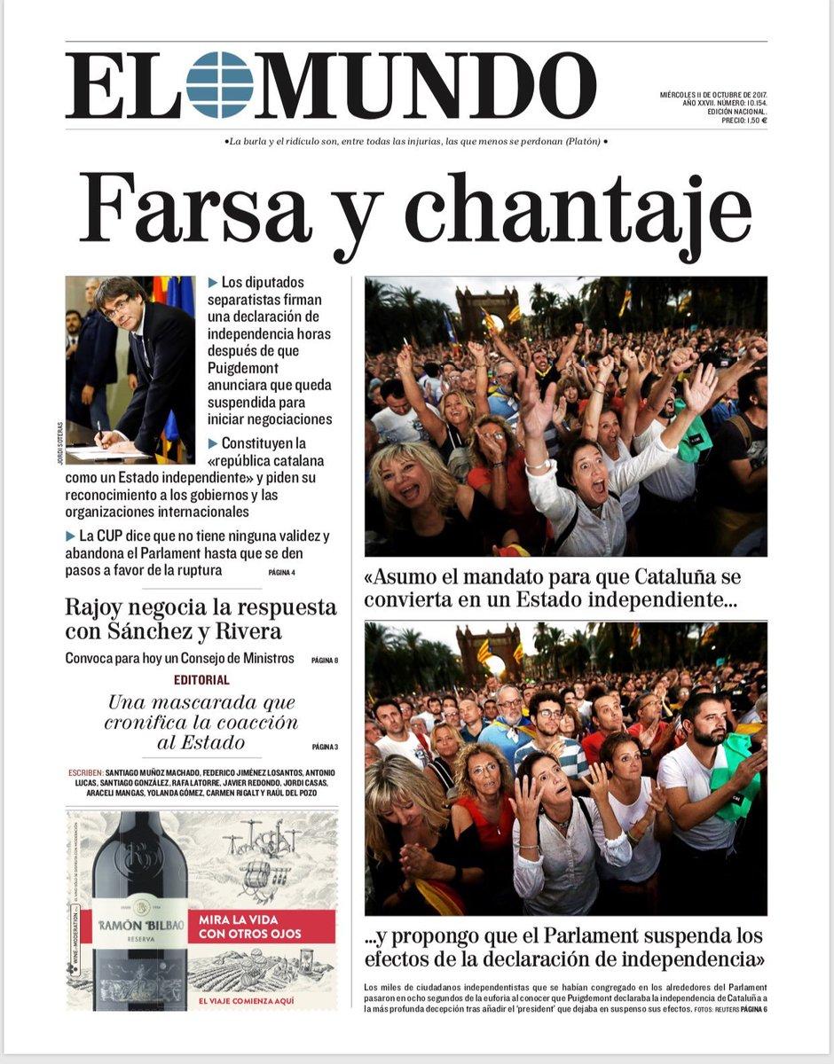 ☕️🗞 Buenos días. Esta es la portada de EL MUNDO de este 11 de octubre...