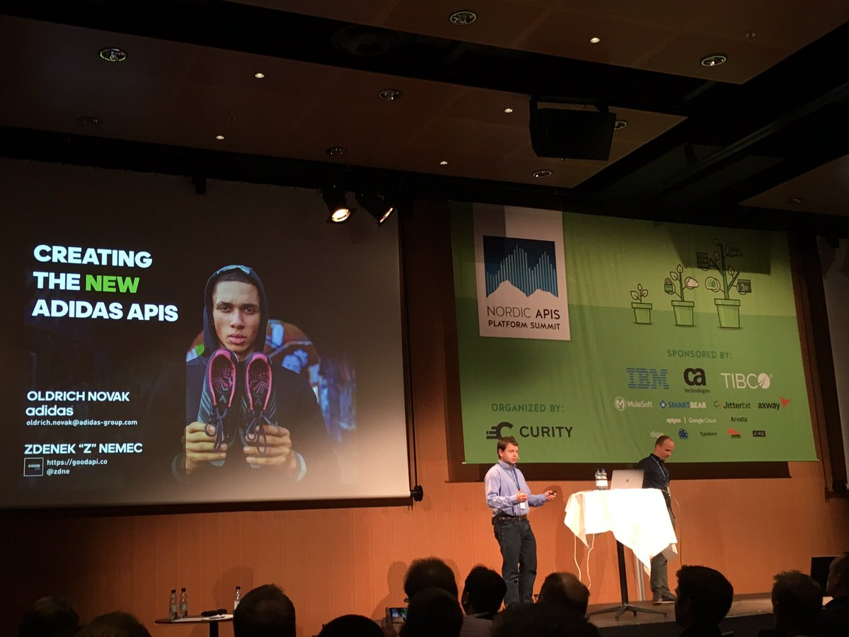 @nordicapis day 2 kicked off with the great story behind how Adidas transformed into a technical company and their APIs strategy! #adidas <br>http://pic.twitter.com/bCfl72FgHg
