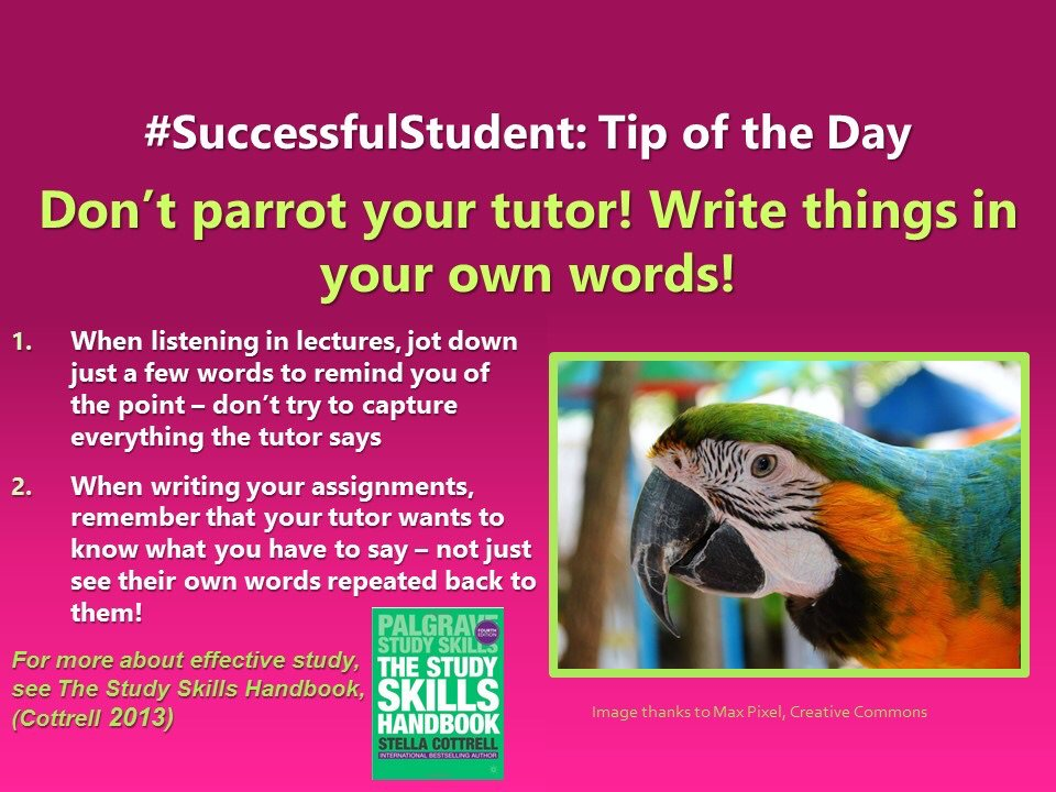 stella cottrell on successfulstudent don t parrot your   students student acu studentlife unilife essay uni universitypic com 1rptnchmlk