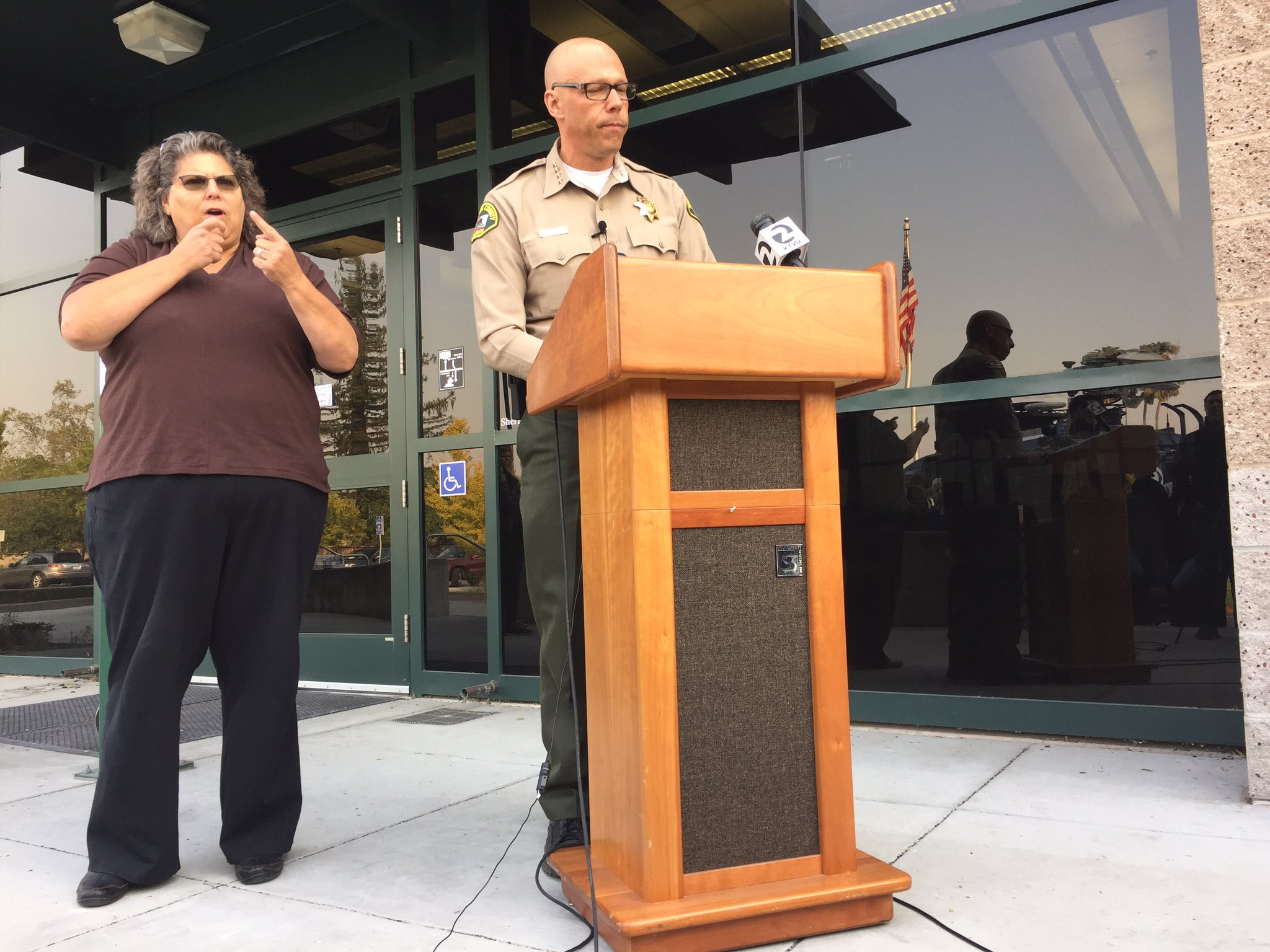 Sonoma County Sheriff Rob Giordano speaks to reporters. (Phil Willon / Los Angeles Times)