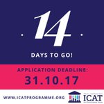 Only 14 days to go until applications close for the #ICAT Programme! Submit your applications here: https://t.co/9pSZgLLl0z by 4pm 31st Oct