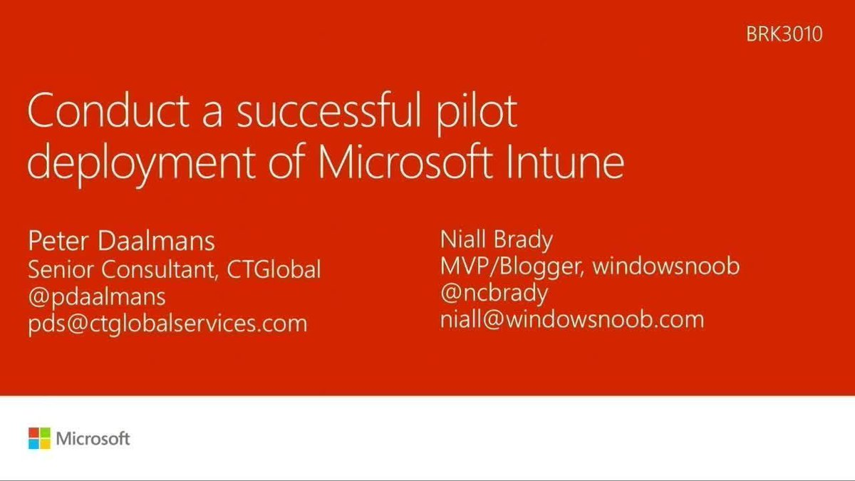Watch our friends @ncbrady @pdaalmans&#39;s #msignite session on pilot deployment of #MSIntune  https:// buff.ly/2xwHmEB  &nbsp;   #ConfigMgr<br>http://pic.twitter.com/japSnK4FJQ