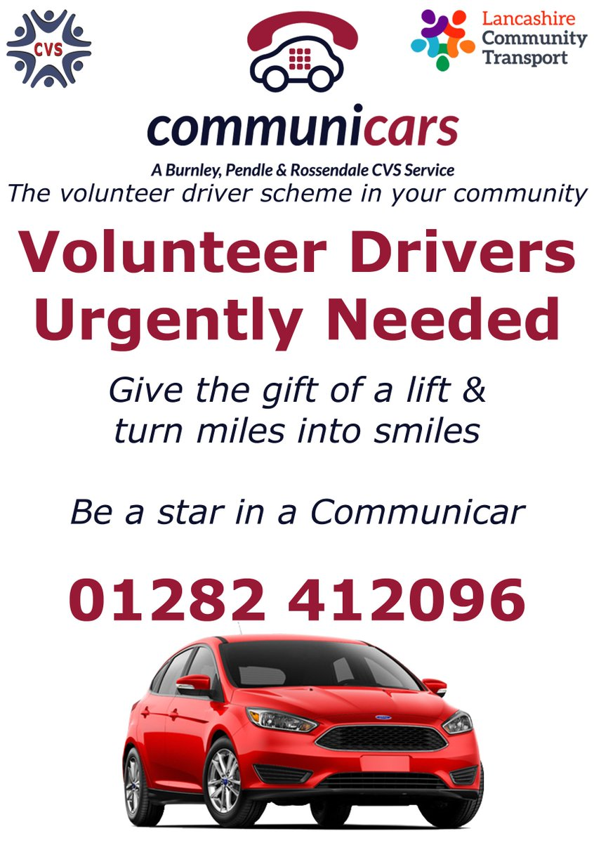 Looking to #volunteer? Can you drive?   Volunteer for #Communicars -  http:// bit.ly/2y34qiG  &nbsp;     #Burnley #Pendle #Rossendale @BPRCVS<br>http://pic.twitter.com/aMhbMaFGPh