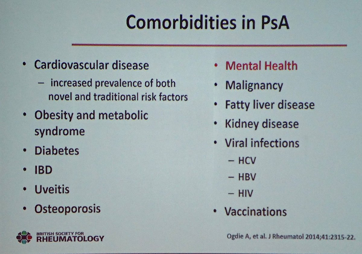 Important comorbidities to look out for &amp; manage in #psoriatic arthritis via Dr Vinod Chandran #BSRaut17 #Leeds #medical #rheumedu <br>http://pic.twitter.com/Eedd0fUOqx