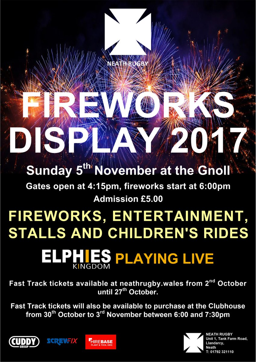 neath rfc on twitter fireworks display 2017 tickets available