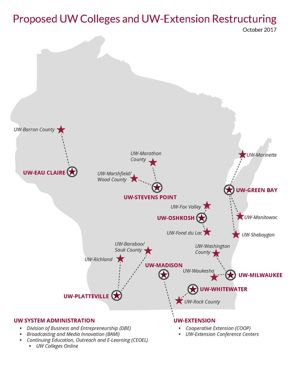 Uw System On Twitter Map Of Proposed Uw Colleges And Uw Extension