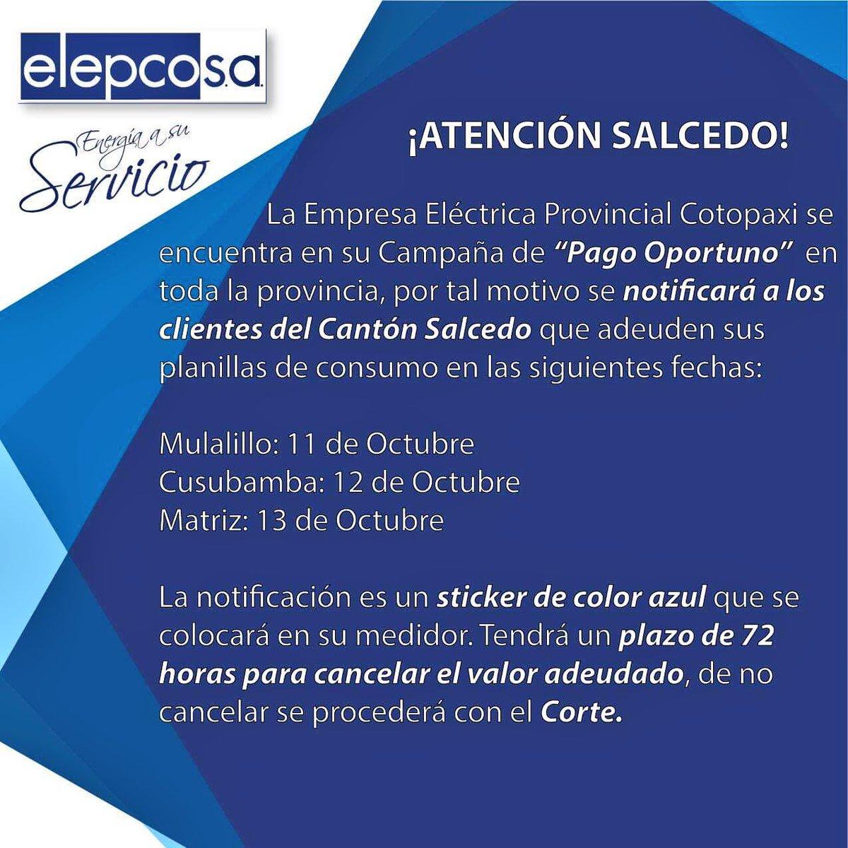 RT @elepcosa: ⛔️ATENCIÓN SALCEDO❗️ La Campaña de Pago Oportuno inicia en tu cantón. Más Info 👇🏻👇🏻 https://t.co/4cOTCokAEg