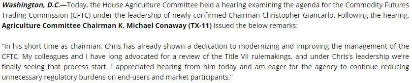 #HouseAg Reviews CFTC Chairman Giancarlo...