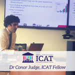 Dr Conor Judge one of our #ICAT Fellows and trainee nephrologist presenting his PhD project concept at the meeting in @nuigalway