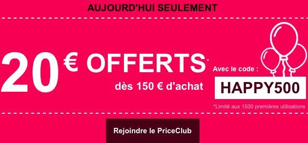 #Urgent! 20€ de #remise sur votre #commande chez #PriceMinister, code #promotionnel HAPPY500  https:// goo.gl/XW6ZfG  &nbsp;  <br>http://pic.twitter.com/ugIgcoVm3P